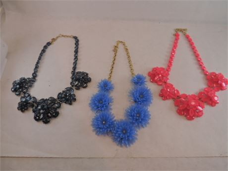 3  Floral Statement Necklaces With Great Stones