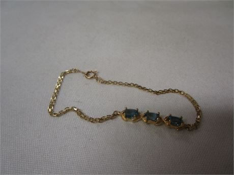 14 Karat Yellow Gold Bracelet with Blue Stones 3.21 Grams - Tested w/ JSP