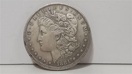 1881 U.S Morgan Silver Dollar. (Circulated)