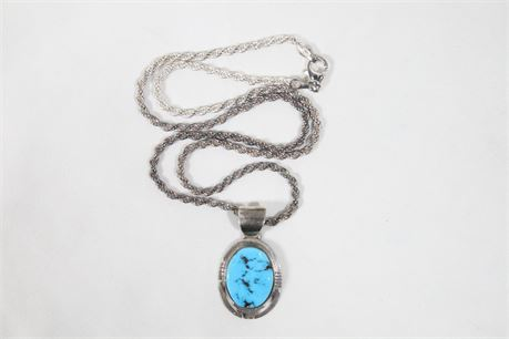 Vintage P. Sanchez Turquoise Pendant w/Italy Sterling Silver Necklace