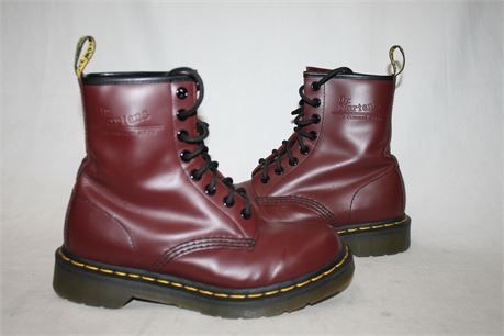 Dr. Marten Burgundy Leather Boots, Size 5 W
