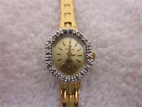 Vintage Diamond Quartz Croton Watch