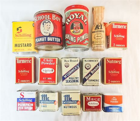Vintage Spice Tins & Peanut Butter & Baking Powder Cans - 15Pc Mixed Lot