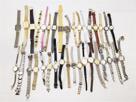 Huge Lot Of 35 Watches. Assorted Brands.