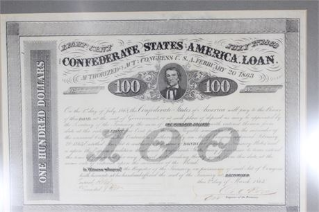 Historical Civil War Framed Confederate States Bank Notes, Authenticated