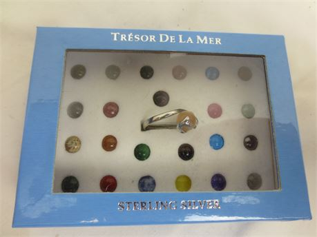 Tresor De La Mer Sterling Silver Ring with 24 Interchangeable Colored Beads