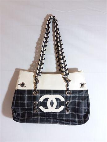 "Chanel Black & White Shoulder Purse 13""X9""X2"""