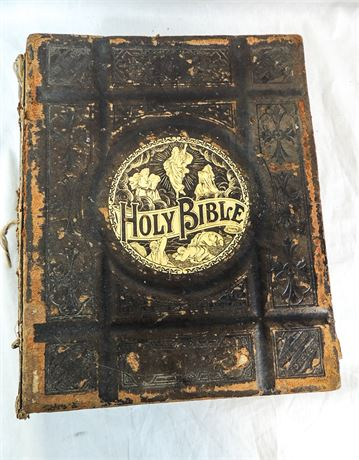 Antique Leather Bound Pronouncing Parallel Holy Bible Published 1892 (440-J)