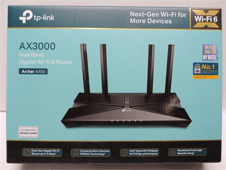 TP-Link Archer AX3000 4 Stream Dual-Band Wi-Fi 6 Wireless Router | Up To 3 Gbps