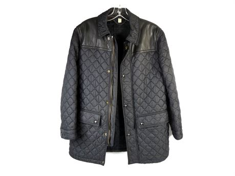 Burberry London Highgrove Quilted Jacket Men's Size Medium Leather Panel, Black