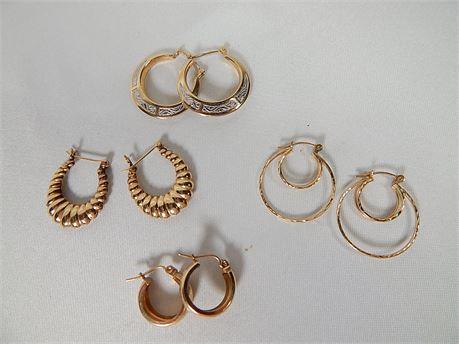 14K Gold Hoop Earrings 4 Pair 5.2 grams (270SA/HE)