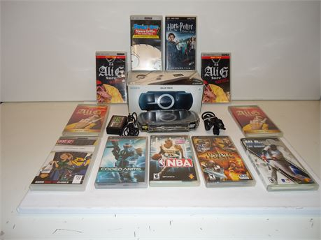 Lot Of PSP 1 Console,And 11 Movies/Games Pre-Owned
