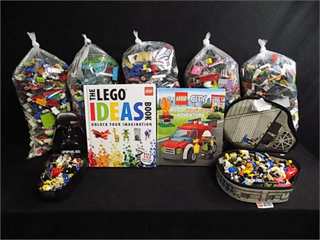Assorted LEGO Lot: Lego Ideas Book, Build Your Own City Book, LEGOS 28.13 lbs