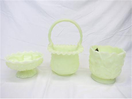 Vintage Fenton Yellow Milk Glass 3 Pieces