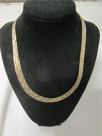 Milor 925 Sterling Silver Woven Strand Necklace Silver & Gold Tone 21.42 Grams