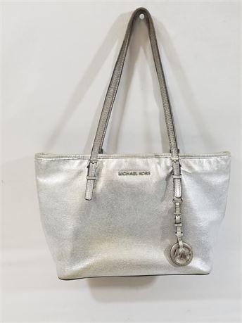 Michael Kors Silver Purse Bag. 14 X 8 X 6