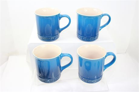 4 Le Creuset Stoneware Coffee Mugs NEW