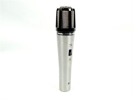 Vintage SHURE Prologue 10L LO Z Black Silver Cardioid Dynamic Microphone