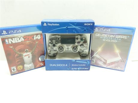 PS4 Dual Shock Controller (NEW) & 2 PS4 Games (Pre-Owned)
