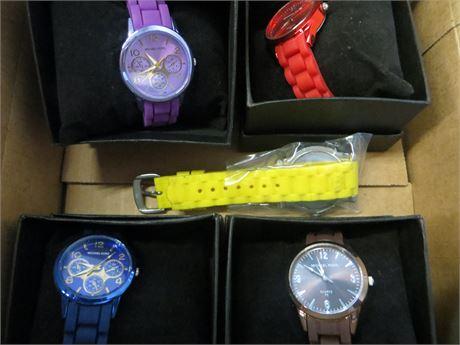 Michael Kors LOT of Four Colorful Watches, +1 Juicy Bonus Watch