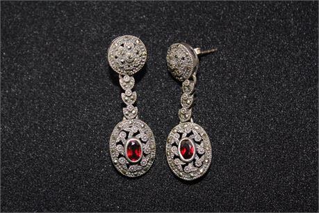 Vintage Sterling Silver & Malachite Earrings