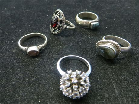 Lot of Five 925 Sterling Rings w/ Stones