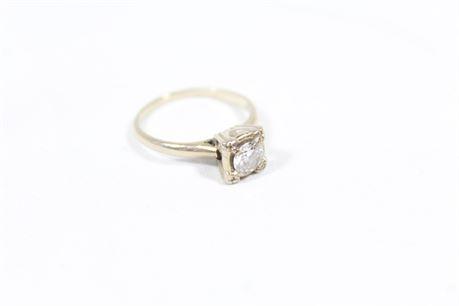 14K White Gold Diamond Ring, Size 6 1/2  2.27 Grams