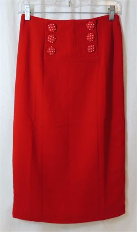 NWT Comme Toi Cherry Red Pencil Skirt Women's Size Small (579)