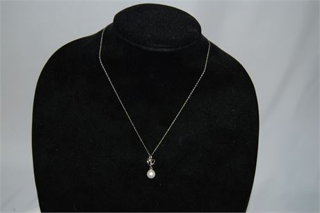 Silver 9-10 mm Drop Freshwater Pearl Pendent (500)