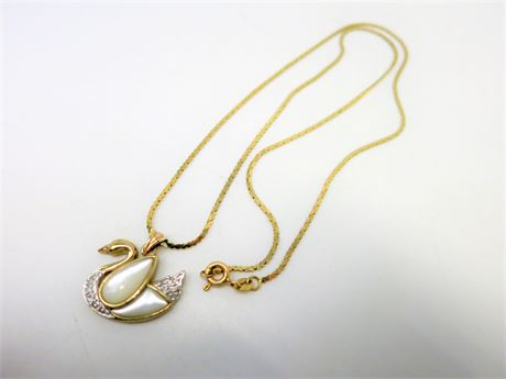 14K Yellow Gold Chain with 10K Mother Peal Diamond Swan Pendant