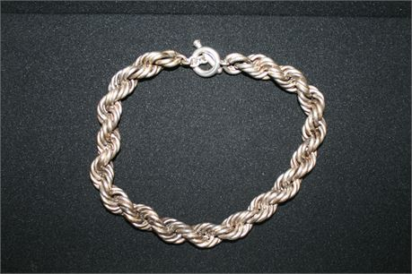 """Heavy Sterling Silver Rope Necklace, 18"""" Long, 220.7 Grams"""