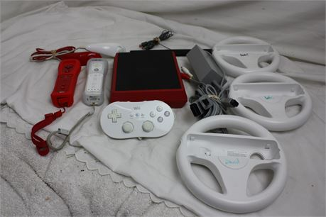 Nintendo Wii Mini Console, Power/AV Cords, Steering Wheels, Controllers/Nunchuks