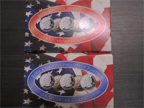 2001 Denver Mint & 2001 Philadelphia Mint State Quarter Collection NIB