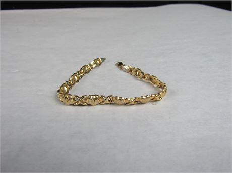 """10k Gold Heart Bracelet   4.0g  7"""" (650)"""