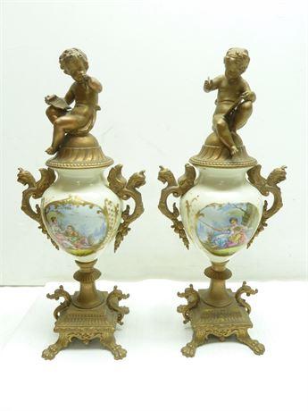"""2- Vintage Bronze Garniture Vases W/ Cherubs; (2- 16""""x7"""")"""