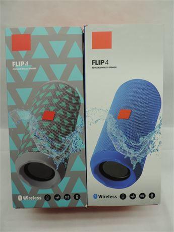 Flip 4 Wireless Bluetooth Splash Proof Portable Speaker - Gray/Teal & Blue New