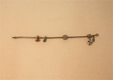 .925 Silver Pandora Bracelet w/ charms (500)