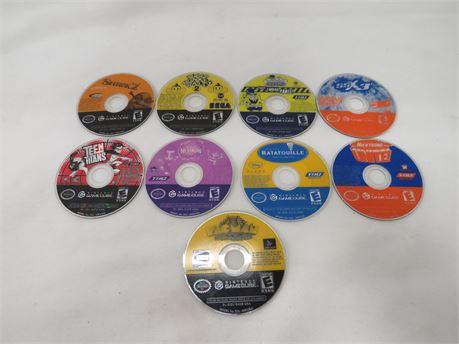 Lot of 9 GameCube Game Discs No Cases or Manuals