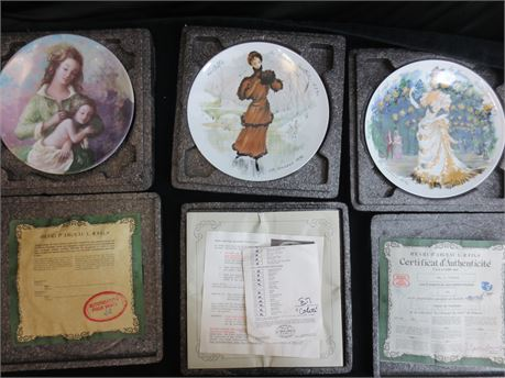 3 French Decorative Plates by Darceau Limoges