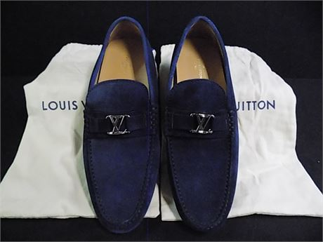 Louis Vuitton Navy Blue Suede Driving Loafers, Size:9